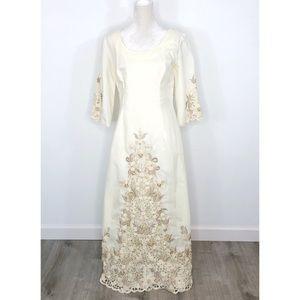Vintage 1960s Tesoro's Ivory Barong Tagalog Dress